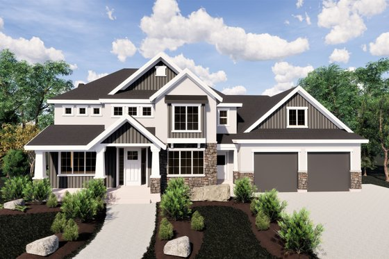 Craftsman Exterior - Front Elevation Plan #920-36