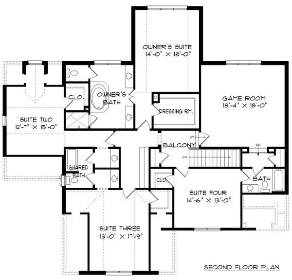 Tudor Floor Plan - Upper Floor Plan Plan #413-889