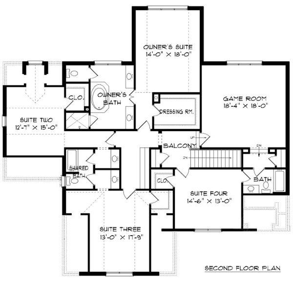 Tudor Floor Plan - Upper Floor Plan Plan #413-889