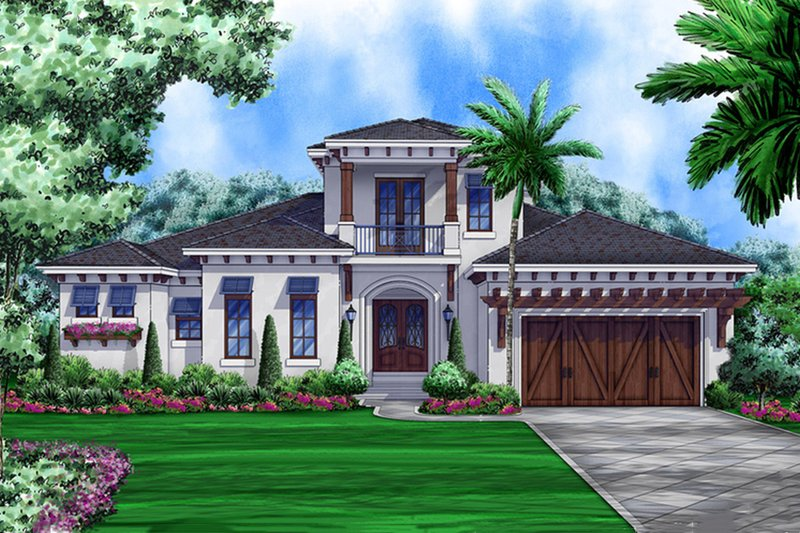 Adobe / Southwestern Style House Plan - 4 Beds 3.5 Baths 2548 Sq/Ft Plan #27-458 Exterior - Front Elevation