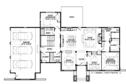 Prairie Style House Plan - 5 Beds 3 Baths 3718 Sq/Ft Plan #928-279 Floor Plan - Main Floor Plan