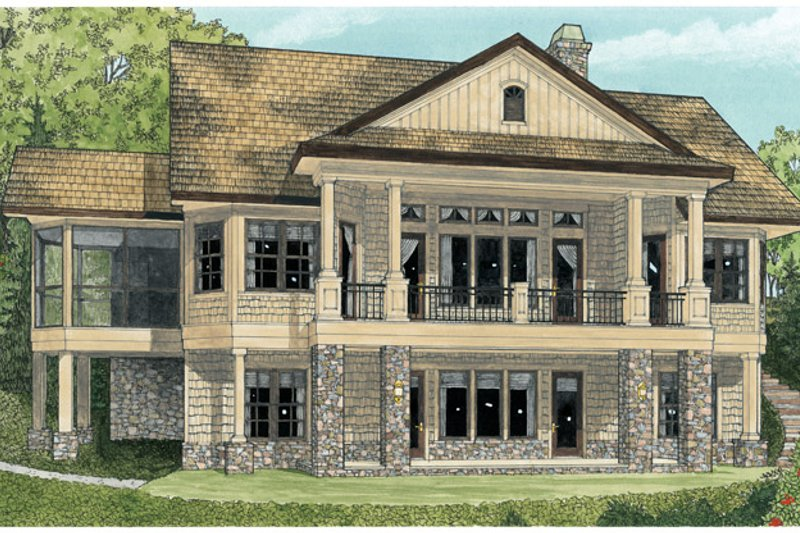 Craftsman Exterior - Rear Elevation Plan #929-937 - Houseplans.com