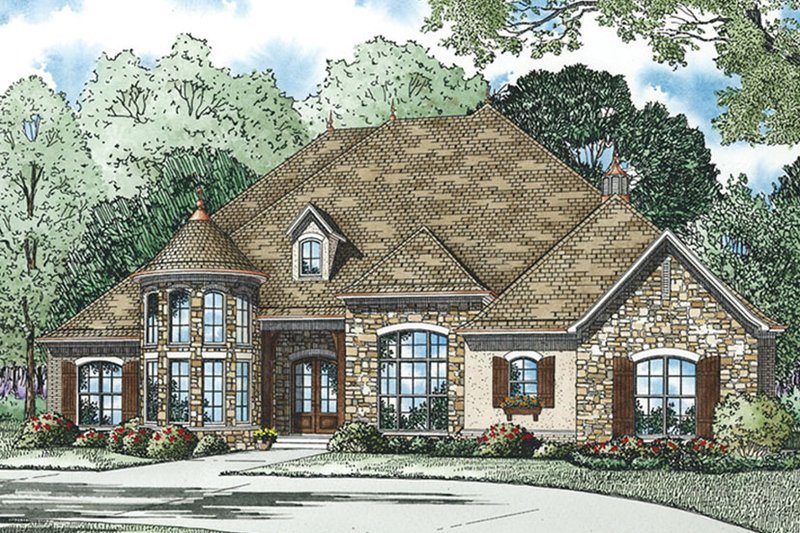 European Exterior - Front Elevation Plan #17-3386 - Houseplans.com