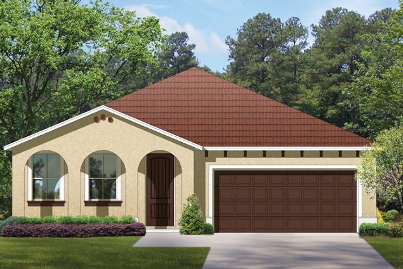 Mediterranean Exterior - Front Elevation Plan #1058-59
