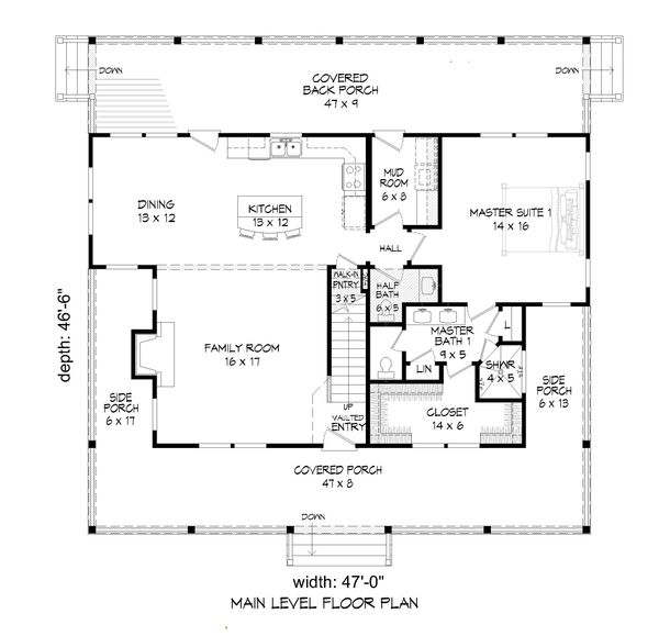 Country Floor Plan - Main Floor Plan Plan #932-43