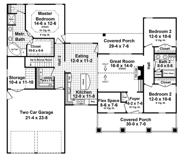 Ranch Floor Plan - Main Floor Plan Plan #21-440