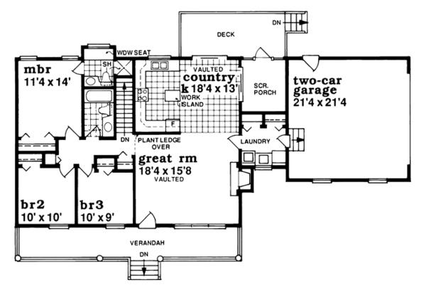 Ranch Floor Plan - Main Floor Plan #47-886