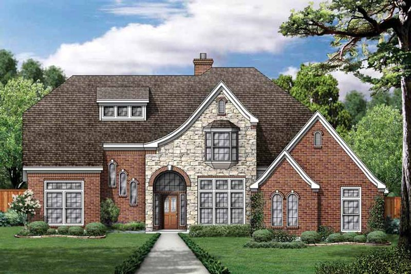 European Exterior - Front Elevation Plan #84-709 - Houseplans.com