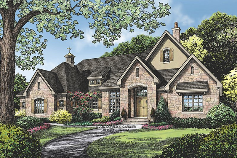 European Exterior - Front Elevation Plan #929-914