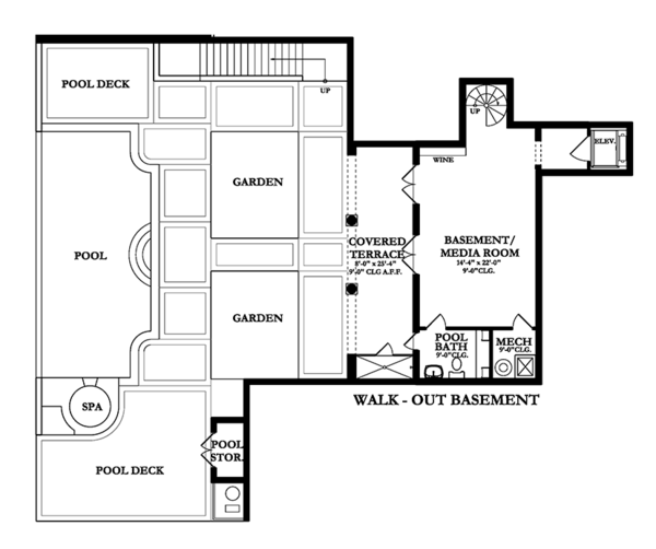 Mediterranean Floor Plan - Lower Floor Plan Plan #1058-85