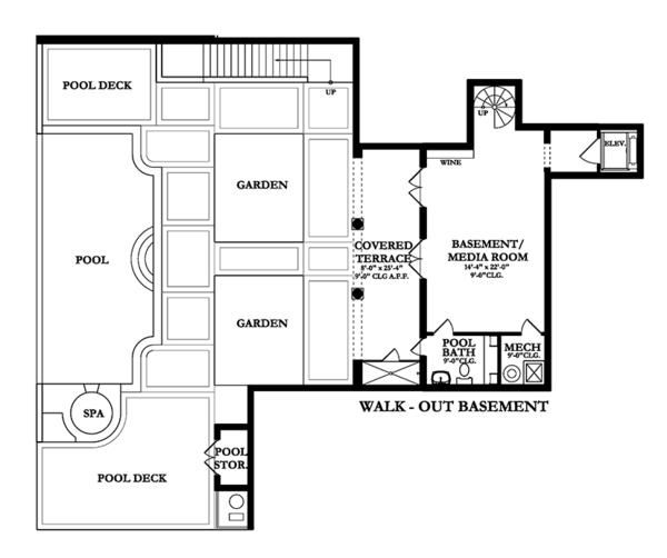 Mediterranean Floor Plan - Lower Floor Plan Plan #1058-85