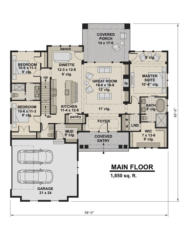 Craftsman Floor Plan - Main Floor Plan Plan #51-584
