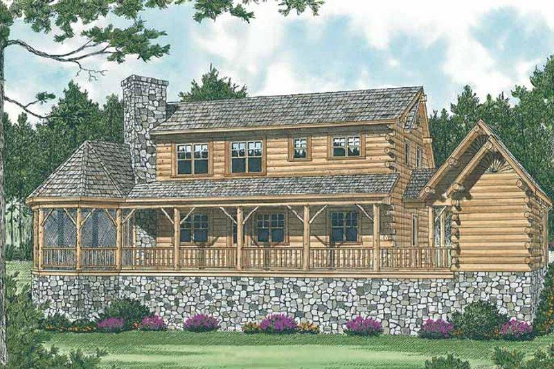 Log Exterior - Rear Elevation Plan #453-475 - Houseplans.com