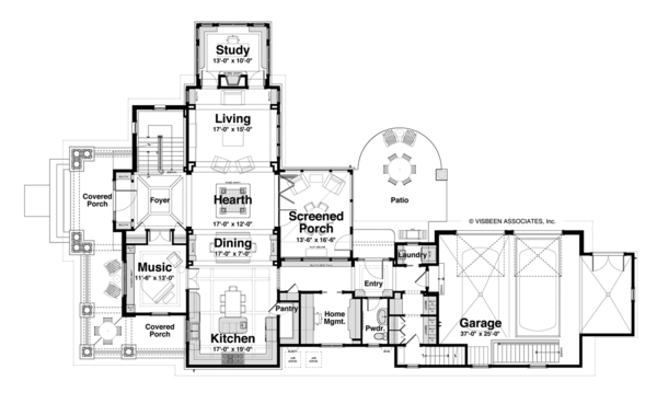 Craftsman Floor Plan - Main Floor Plan Plan #928-185