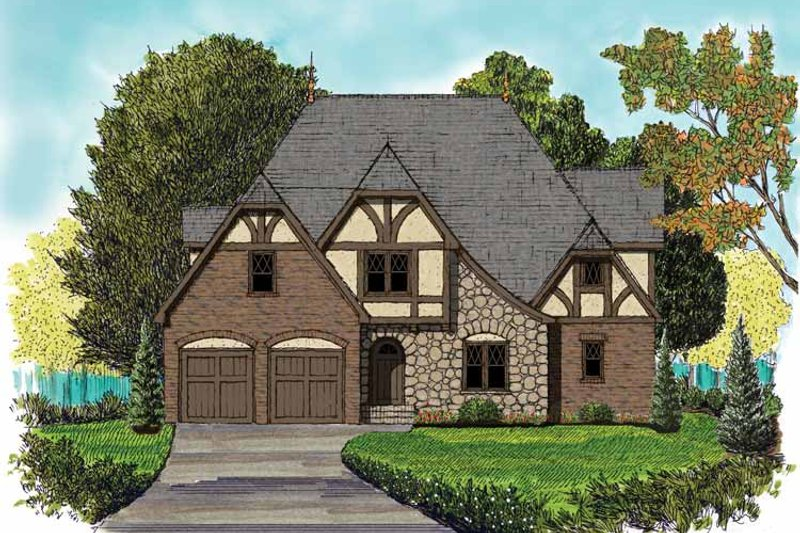 Tudor Exterior - Front Elevation Plan #413-908