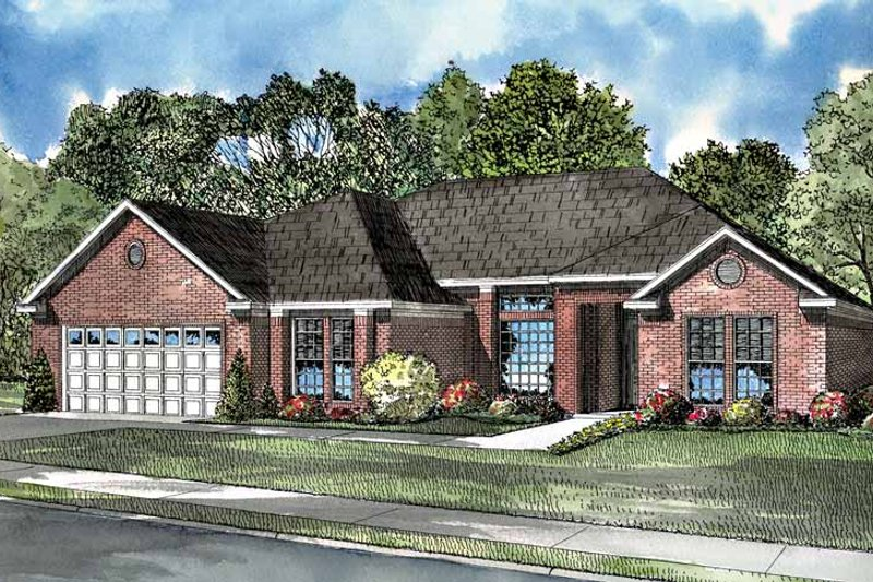 Ranch Exterior - Front Elevation Plan #17-3056