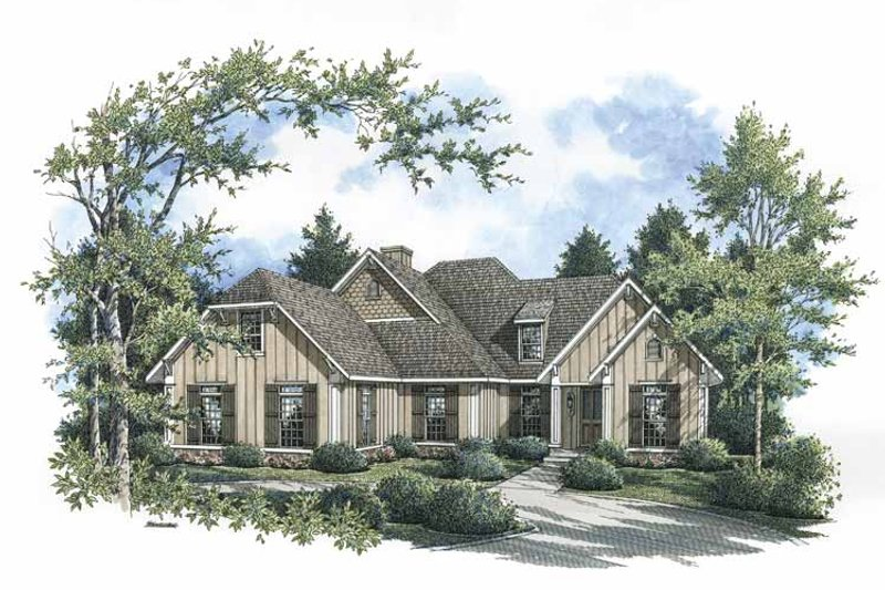 Country Exterior - Front Elevation Plan #45-422