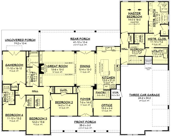 Dream House Plan - Farmhouse Floor Plan - Main Floor Plan #430-222