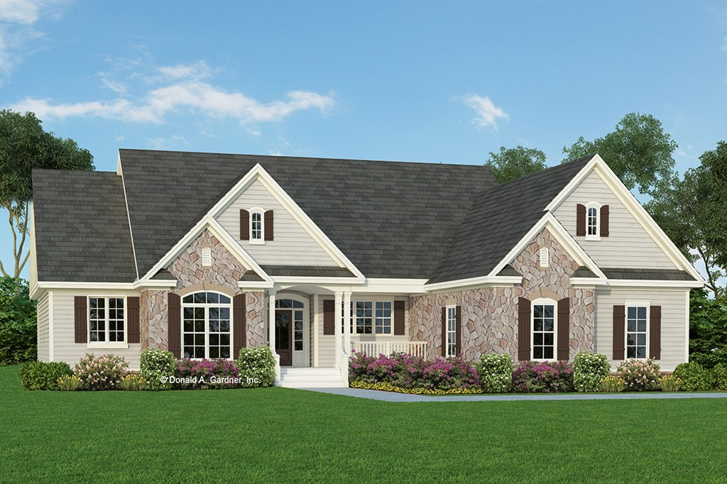 Country style house plan 4 beds 3 baths 2124 sq ft plan for Craftsman house plans with side entry garage