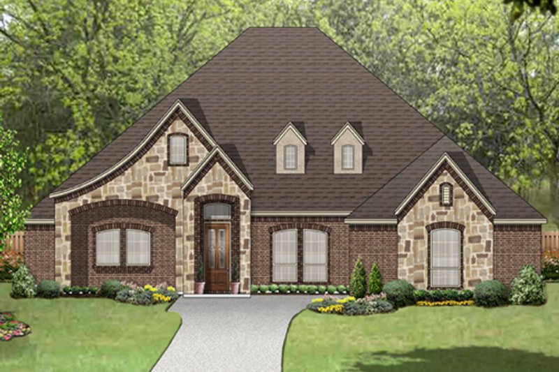 European Style House Plan - 4 Beds 2.5 Baths 2987 Sq/Ft Plan #84-574 Exterior - Front Elevation