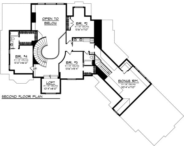 European Floor Plan - Upper Floor Plan Plan #70-1109