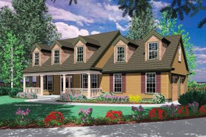 Colonial Exterior - Front Elevation Plan #48-161