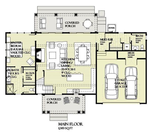 Craftsman Floor Plan - Main Floor Plan Plan #901-138