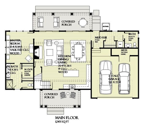 Architectural House Design - Craftsman Floor Plan - Main Floor Plan #901-138