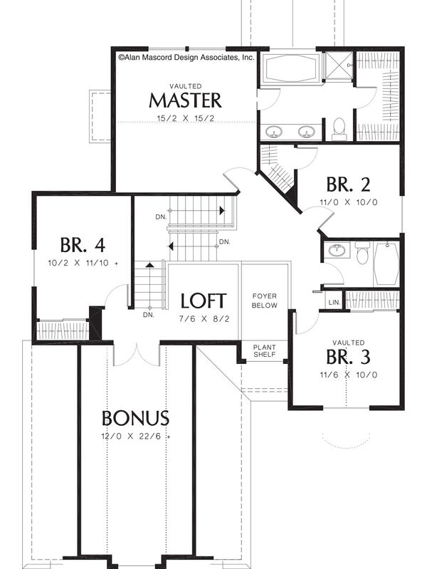 Traditional Floor Plan - Upper Floor Plan Plan #48-380