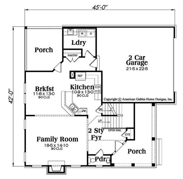 Traditional Floor Plan - Main Floor Plan Plan #419-312