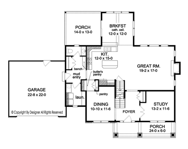 Colonial Floor Plan - Main Floor Plan Plan #1010-159