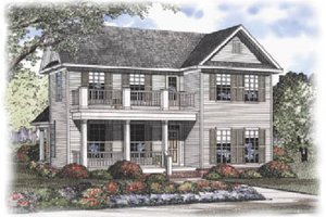 Colonial Exterior - Front Elevation Plan #17-406
