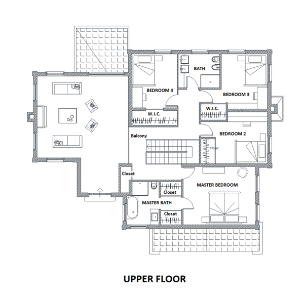 European Floor Plan - Upper Floor Plan Plan #542-15