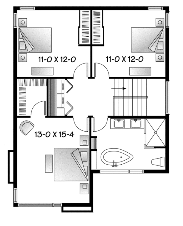 Contemporary Floor Plan - Upper Floor Plan Plan #23-2585