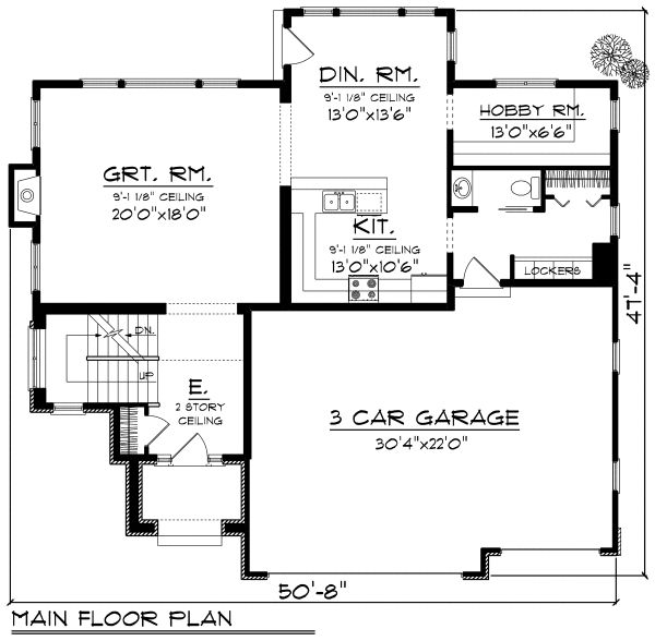 Architectural House Design - European Floor Plan - Main Floor Plan #70-1171