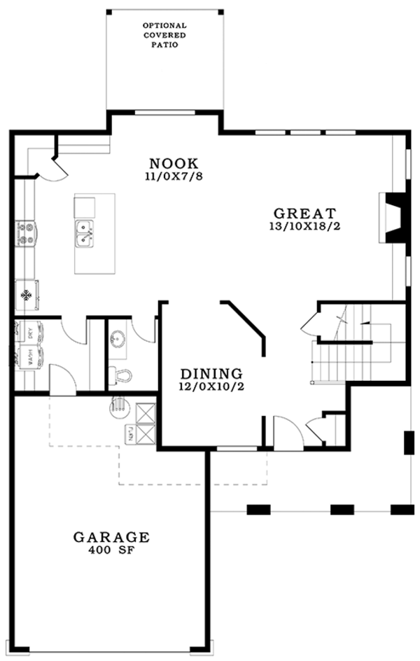 Contemporary Floor Plan - Main Floor Plan Plan #943-49