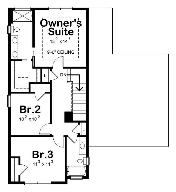 Traditional Floor Plan - Upper Floor Plan Plan #20-2340