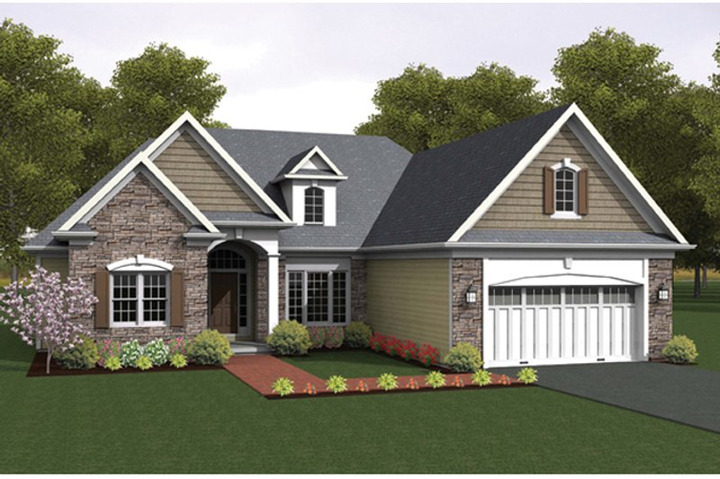 Ranch Exterior - Front Elevation Plan #1010-45