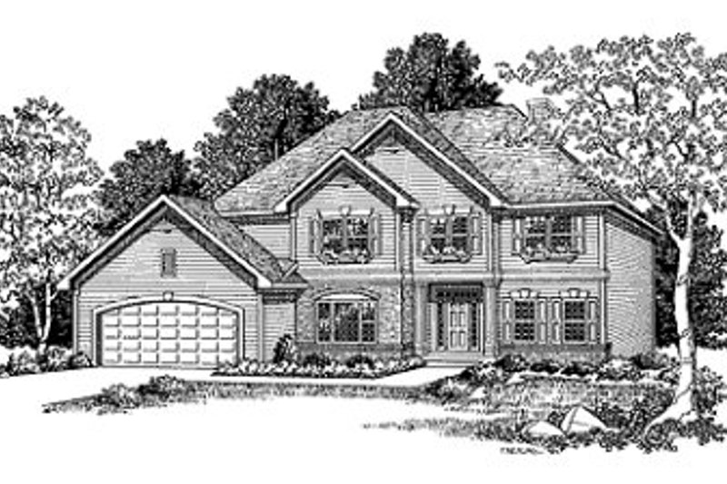European Style House Plan - 4 Beds 2.5 Baths 2788 Sq/Ft Plan #70-444 Exterior - Front Elevation