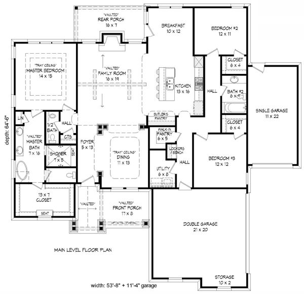 Dream House Plan - Craftsman Floor Plan - Main Floor Plan #932-174