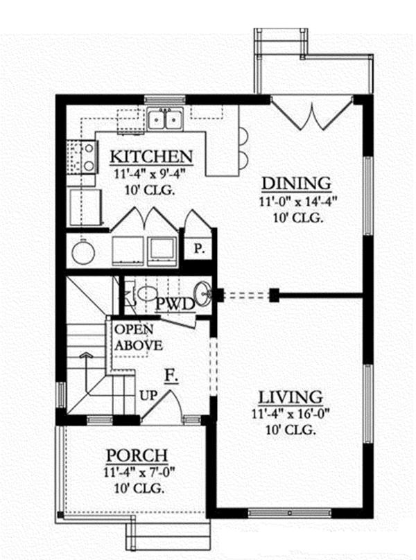 Colonial Floor Plan - Main Floor Plan Plan #1058-91
