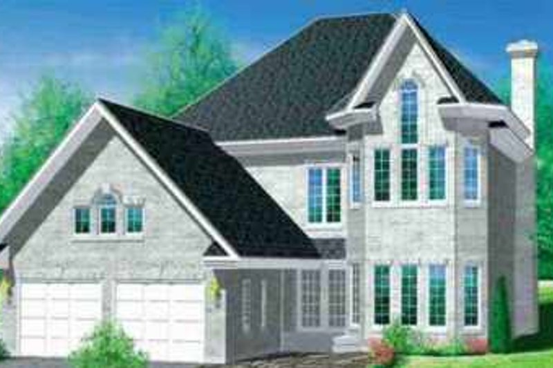 European Style House Plan - 4 Beds 2.5 Baths 2578 Sq/Ft Plan #25-2226 Exterior - Front Elevation