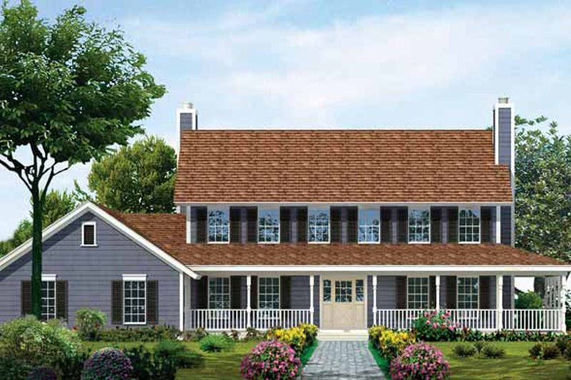 House Blueprint - Country Exterior - Front Elevation Plan #72-840