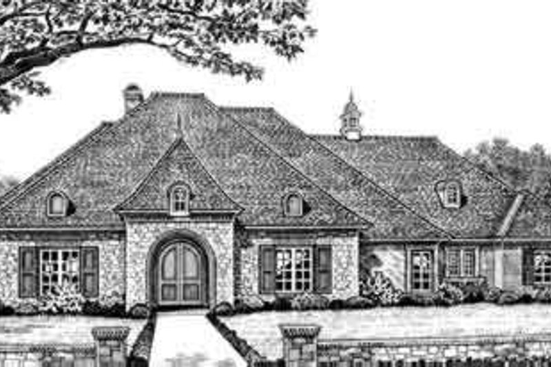 European Style House Plan - 4 Beds 3.5 Baths 2993 Sq/Ft Plan #310-281 Exterior - Front Elevation