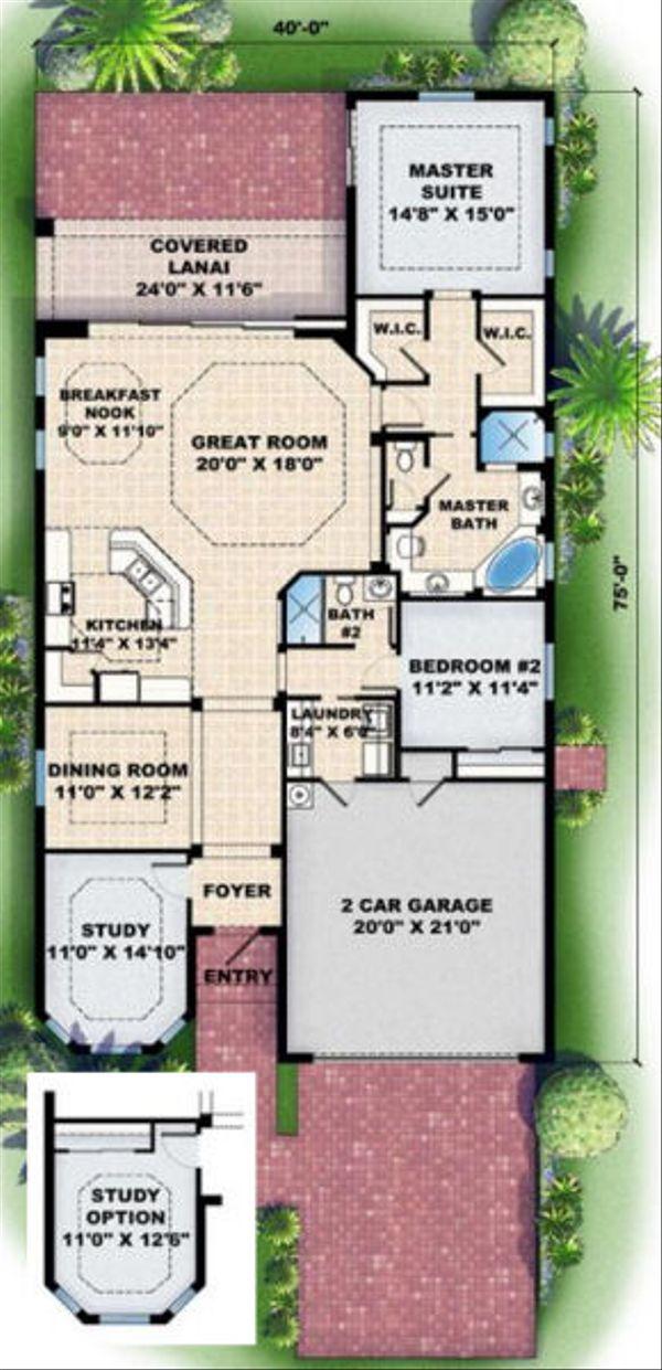 Mediterranean Floor Plan - Main Floor Plan Plan #27-345