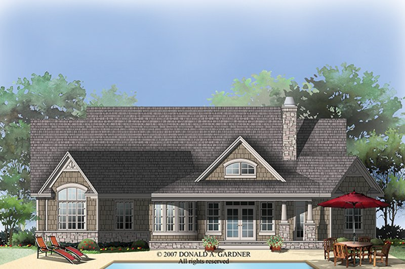 Traditional Exterior - Rear Elevation Plan #929-911 - Houseplans.com