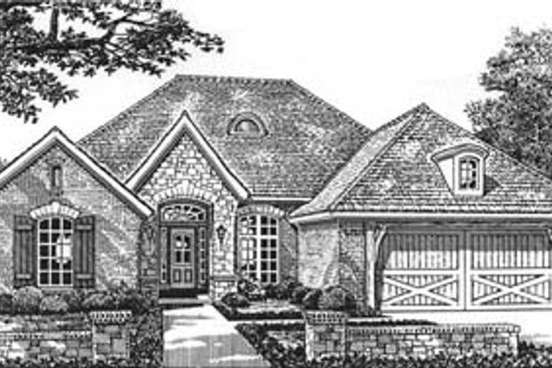 European Style House Plan - 3 Beds 2 Baths 1673 Sq/Ft Plan #310-573 Exterior - Front Elevation