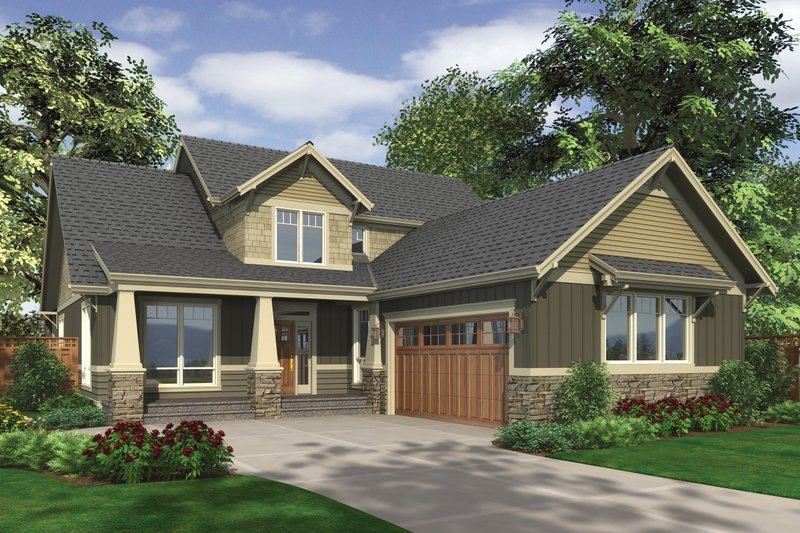 Home Plan - Front View - 2500 square foot Craftsman home