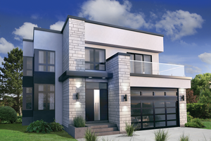 Modern Exterior   Front Elevation Plan #25 4415