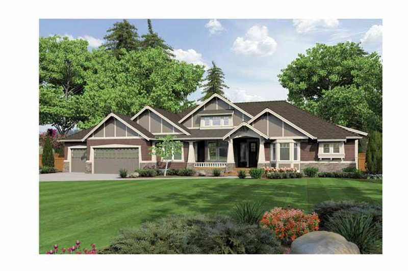 Ranch Exterior - Front Elevation Plan #132-553 - Houseplans.com